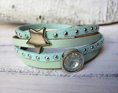 Wickelarmbänder - Wickelarmband Leder hell türkis mint Stern - ein Designerstück…