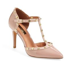 Women's Halogen 'Martine' Studded T-Strap Pump ($40) ❤ liked on Polyvore featuring shoes, pumps, pale pink patent, patent leather shoes, halogen shoes, t strap shoes, t strap pumps and patent leather pumps