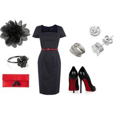 Black Dress & touch of Red, created by jrvongk.polyvore.com