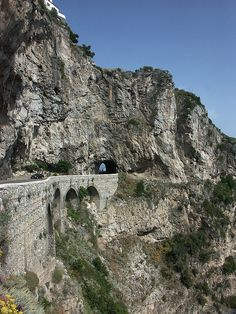 Main road between Praiano and Furore, built into and onto the cliff face Praiano, province of Salerno Campania