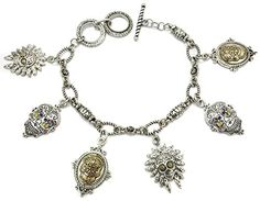 Sugar Skull Charm Worn Silver Toggle Bracelet