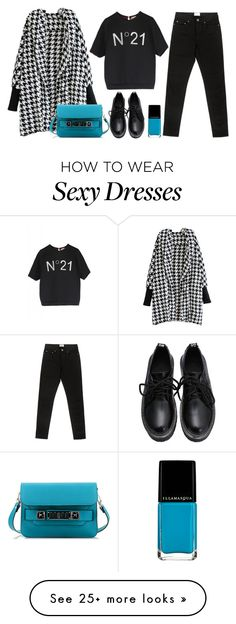 """Houndstooth cardigan"" by thestyleartisan on Polyvore featuring N°21, Proenza Schouler, Acne Studios, women's clothing, women, female, woman, misses and juniors"