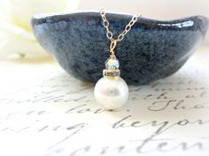 Bridal necklace  Swarovski Crystal and Pearl Necklace by KeyYoung, $25.00