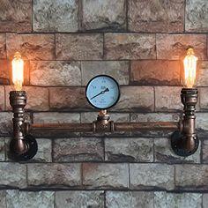 American Retro 2 Head Bar Drinking Water Wall Lamps Warehouse Bedroom Hallway Industrial Retro Lron LED Wall Light