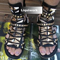 Designer Black Leather Studded Punk Rock Gladiator Summer Boots Sandals Men SKU-1280417