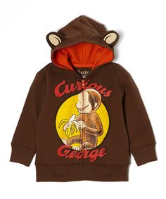 Brown 'Curious George' Ear Zip-Up Hoodie - Kids