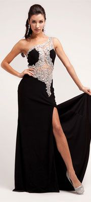 2014 Prom Dresses - Black Satin & Stone Illusion Gown