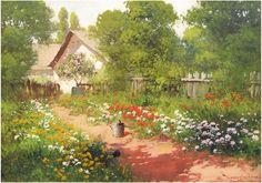 Nature Paintings, Landscape Paintings, Landscapes, Cottage Art, Art Station, Canvas Signs, Figure Painting, Contemporary Artists, Art History