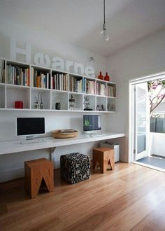 Furniture Home Office Design Ideas. Hence, the demand for house offices.Whether you are planning on including a home office or renovating an old space into one, here are some brilliant home office design ideas to aid you get going. Home Office Design, Modern House Design, Office Designs, Kids Workspace, Workspace Design, Bookshelf Design, Long Desk, Long Bench, Sweet Home