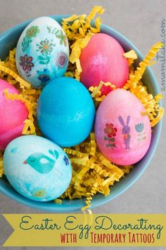 A unique Easter Egg Decroations Idea. Try decorating your dyed eggs with temporary tattoos! See how in this simple tutorial and get free Egg tattoos.