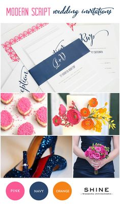Pink and navy blue wedding inspiration with hints of tangerine orange