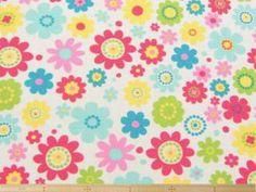雑貨、カーテン、クッションカバー、インテリア小物の制作に!POPな花柄コットンシーティングプリント(白地) 107cm巾 綿100% - そーいんぐ・すていしょん コミニカ