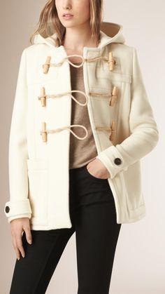 Hooded Wool Blend Duffle Coat Natural White   Burberry