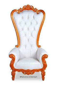**20% off** Absolom Roche Chair - Orange Lacquer and White Faux Croc **SAVE $483**