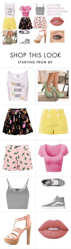 Cutie With Style by camjam1003 on Polyvore featuring Topshop, Boutique Moschino, American Retro, WithChic, Charming Kicks, Charlotte Russe, Vans, Lime Crime, cute and fab