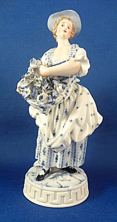 Girl in Hat with Flowers Meissen Porcelain