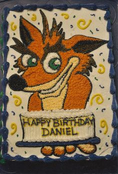Prison City Cakes: Geek My Cake! (Part One). Crash Bandicoot cake - hand drawn and decorated.