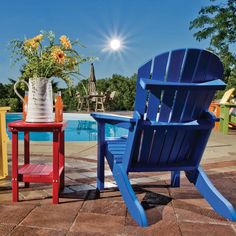"""It seems like moms are ALWAYS on the go for their families; why not encourage her to relax in style with Central's lovely resin Adirondack chairs! Available in 8 fabulous colours, they're durable, comfortable, stylish, and fun! We also have matching ottomans and folding side tables! This is a great way to say """"thank you"""" to that special mom in your life! #adirondack #garden #backyard"""