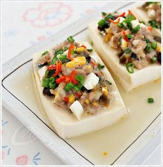 Steamed Tofu with Century Egg and Salted Egg Recipe (蒸豆腐,皮蛋) Egg Recipes, Asian Recipes, Cooking Recipes, Chinese Recipes, Asian Foods, Yummy Recipes, Bento Recipes, Dishes Recipes, Dessert Recipes