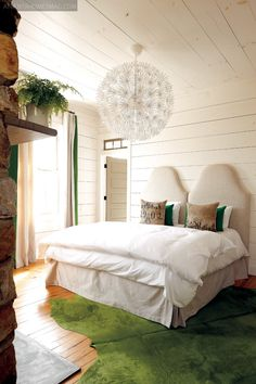 green + white bedroom