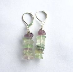Rainbow Fluorite Chips Earrings, Green and Purple Dangle Earrings, Dainty Drop Earrings, Sterling Silver Lever Back Earrings, https://www.etsy.com/listing/570511275/rainbow-fluorite-chips-earrings-green?utm_campaign=crowdfire&utm_content=crowdfire&utm_medium=social&utm_source=pinterest