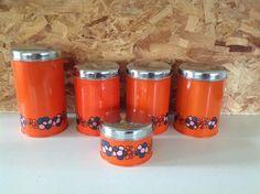 Brabantia. Set van 5 blikken. Oranje. | Nieuw binnen | Fennies Vintage