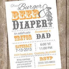DIAPER PARTY INVITATION Couples Baby Shower Invitation Beer And