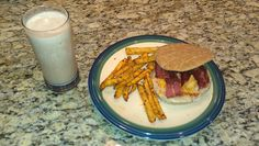 Healthy Bacon Cheeseburger, French Fries and Chocolate Milk Shake
