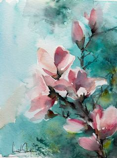 Almond bloom original watercolor painting abstract realism