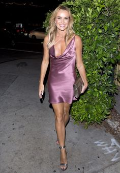 """Amanda Holden - Simon Cowell Hollywood Star Celebration Party at Italian restaurant """"Ago"""" in Los Angeles Amanda Holden Style, Outfits and Clothes. Amanda Holden Style, Amanda Holden Bgt, Hottest Female Celebrities, Celebs, Satin Dresses, Sexy Dresses, Classy Women, Sexy Women, Sexy Legs And Heels"""