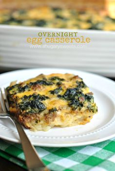 Delicious, overnight, Egg Casserole recipe, filled with sausage or bacon, cheese, and veggies! Enjoy a hearty breakfast with little work!