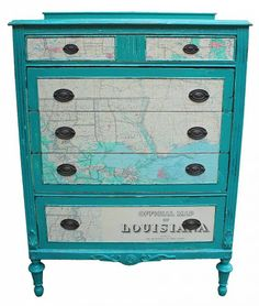 Revive a dresser in horrible shape by repairing, painting & covering the drawers with a vintage map.