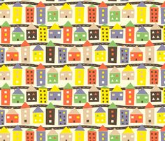 Houses fabric by lydia_meiying on Spoonflower - custom fabric