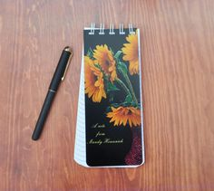 Yellow Sunflower, Personalized Stationery, Paper Gifts, Note Cards, Spiral, New Baby Products, How To Draw Hands, Notes, Phone Cases
