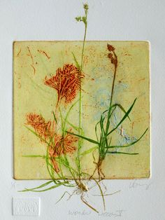 Collograph mono print wonderful weeds. by LynnBaileyPrintmaker