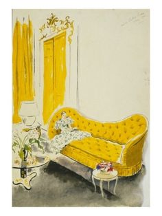 IN LOVE with this vintage illustration! Vogue, May Cecil Beaton Illustrator, Yellow Sofa, Yellow Rooms, Cecil Beaton, Interior Sketch, Interior Rendering, Interior Design, Moda Vintage, Vintage Vogue