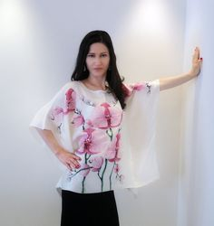 Handmade boutique blouse Orchids hand painted by JoannaArtDesign