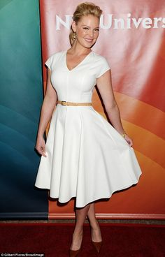 In the line of fire: Katherine Heigl may have been in good spirits upon arrival, but she faced some pretty tough questioning when she fronted the panel for her new series State Of Affairs during the 2014 NBCUniversal TCA Press Tour in Beverly Hills on Sunday
