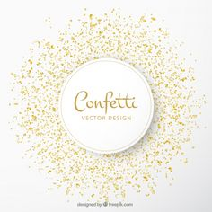 Celebration background with golden confetti Free Vector