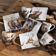 Rustic Wildlife Dinnerware Sets with Moose \u0026 Bear Designs & Wildlife Dinnerware Sets Rustic Cabin Lodge Wilderness Nature Casual ...
