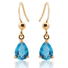 Charme Topaz Crystal éternelle 18K or jaune rempli Lovely Dangle Boucles d/'oreilles pendantes