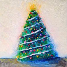 Christmas Tree 6x6 oil on canvas  Original art by California artist, © Lani Woods ~ www.LaniWoods.com  #Christmastree #holiday #decor #laniwoods #oilpainting