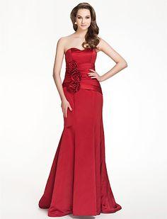 Bridesmaid Dress Floor Length Satin Trumpet Mermaid Sweetheart Dress With Flowers - USD $ 79.99