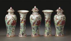 A five-piece garniture of famile rose porcelain