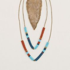 Tribal fair trade V-Tube Bead & Leather Necklace **Altiplano