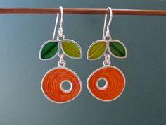 Long hoop dangle earrings - Dutch orange -resin-silver-mixed media. $170.00, via Etsy.
