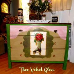 So neat - Large 3 drawer chest painted a variety of fun colors including Antibes Green, Old Ochre and Olive Chalk Paint® decorative paint and a unique roller skate graphic from The Graphics Fairy | By Lori of Thee Velvet Glove | CHECK OUT MORE DRESSER IDEAS AT DECOPINS.COM | #dressers #dresser #dressers #diydresser #hutch #storage #homedecor #homedecoration #decor #livingroom