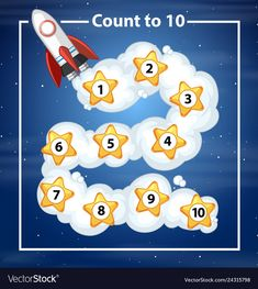 Count to 10 rocker background illustration , Toddler Learning Activities, Alphabet Activities, Kindergarten Crafts, Preschool Activities, Child Life Specialist, Outer Space Theme, Mazes For Kids, Blank Sign, Shape Templates
