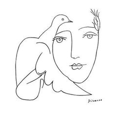 Pablo Picasso, 'Face-Dove Sketch,' 1881-1973 #Pablo