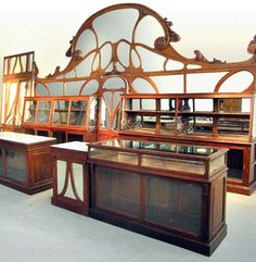 Art Nouveau bakery interior, carefully removed from a turn-of-the-century bakery Interior Art Nouveau, Architecture Art Nouveau, Art Nouveau Furniture, Art Nouveau Design, Beautiful Architecture, Design Art, Architecture Design, Muebles Estilo Art Nouveau, Muebles Art Deco